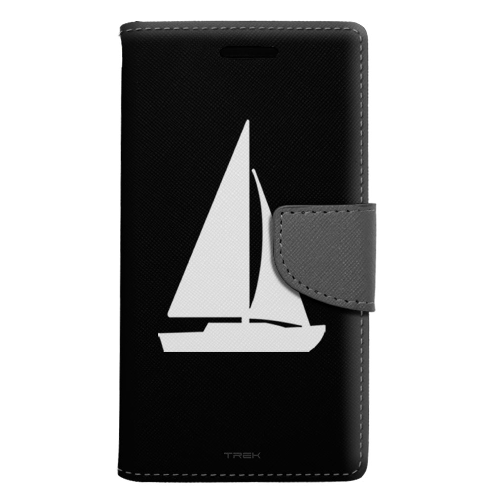 Samsung Galaxy J3 Wallet Case - Silhouette Sailboat on Black Case
