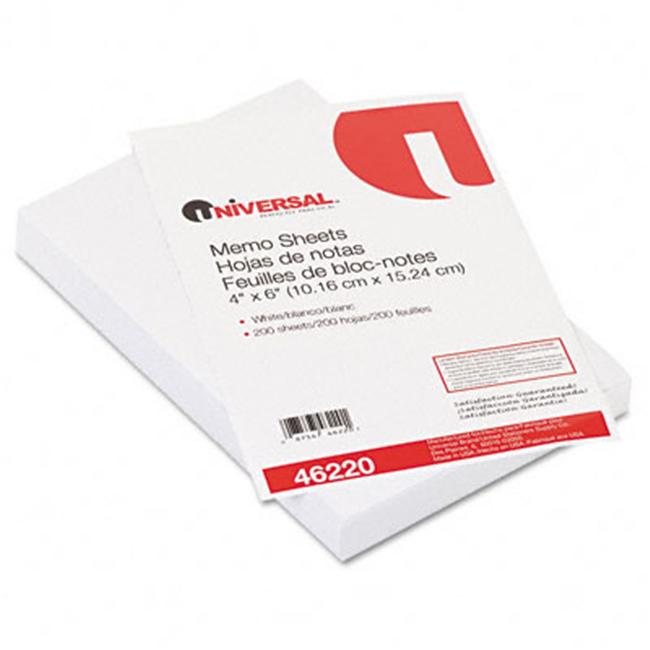 Universal 46220 Loose Memo Sheets  4 x6  White  200 Sheets per Pack