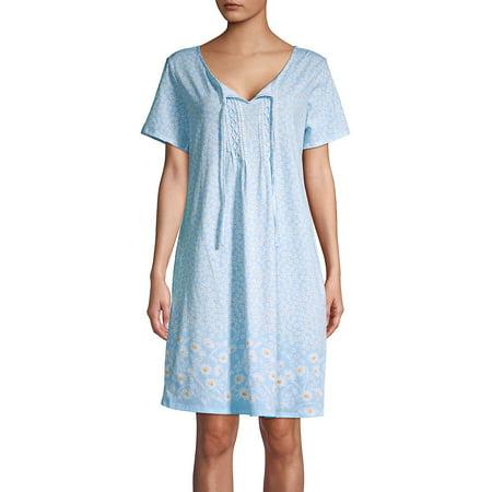 Carole Hochman Floral Jersey - Pintucked Daisy Sleepshirt