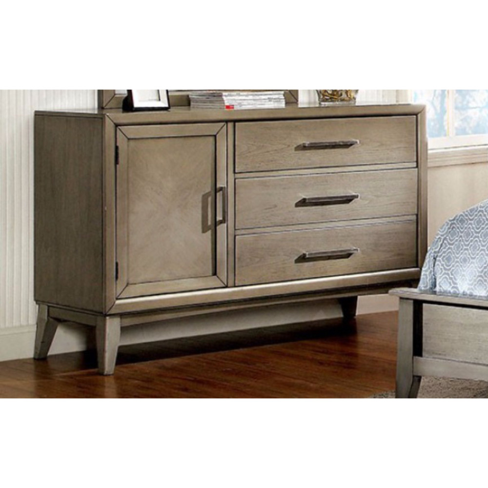 Urbane Contemporary Style Wooden Dresser, Gray
