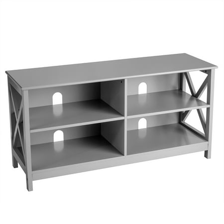 Gymax TV Stand Entertainment Media Center for TV's up to 55'' w/ Storage Shelves Gray - image 3 of 10