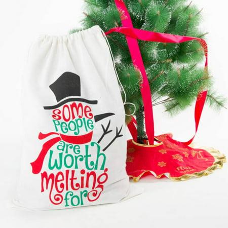 "19.7X27.6"" Christmas Bags Santa Sacks Canvas Bags Cloth Stocking Storage Decoration Gift"