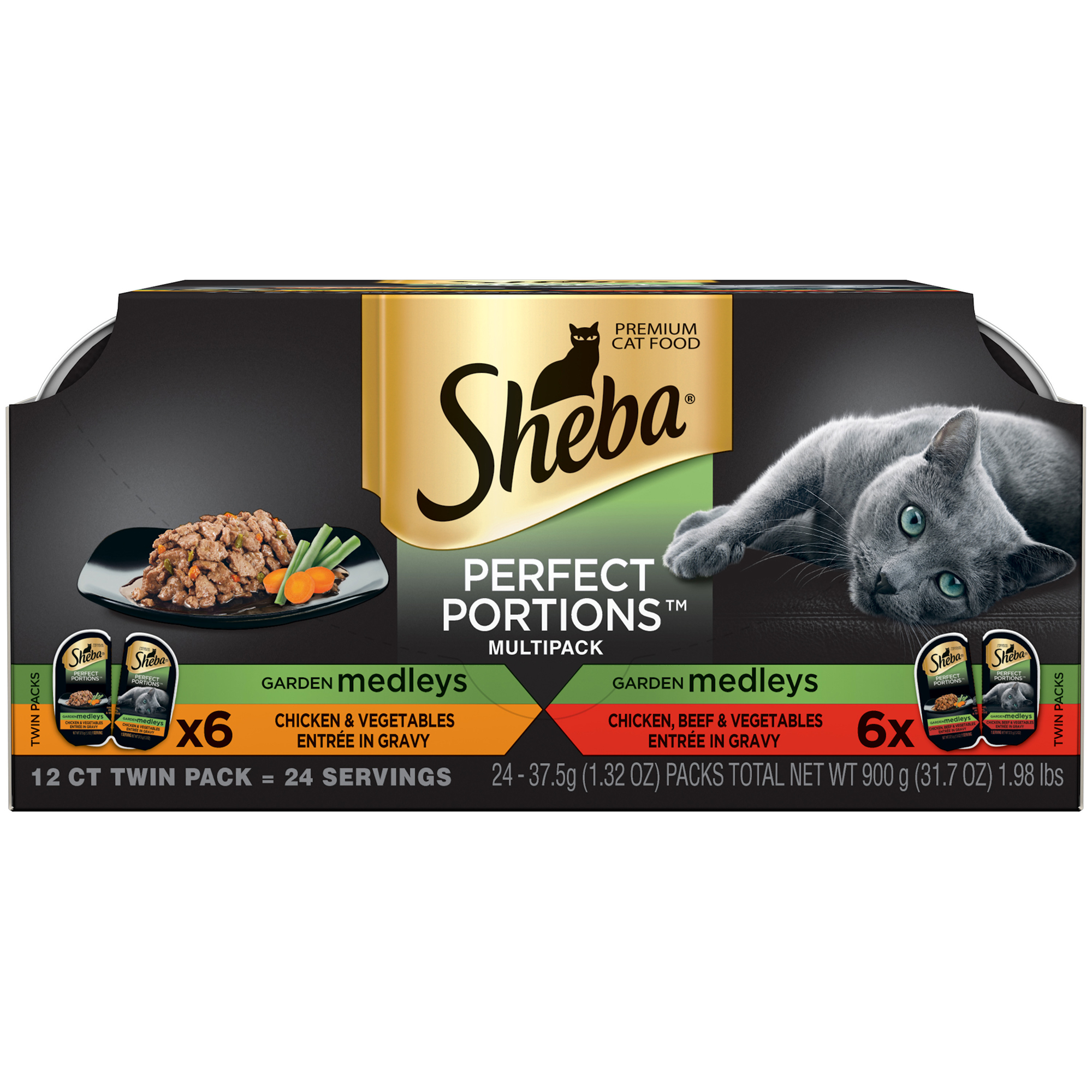 Sheba Perfect Portions Garden Medleys Wet Cat Food, Chicken And Vegetables & Chicken, Beef And Vegetables Multipack, 2.6 Oz (12 Twin Packs)