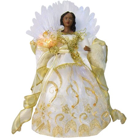 Black Angel Christmas Tree Topper.Holiday Time 12 Fiber Optic African American Gold Angel Christmas Tree Topper