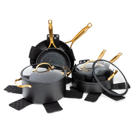 Thyme & Table Non-Stick 12 Piece Gold Pots And Pans Cookware Set