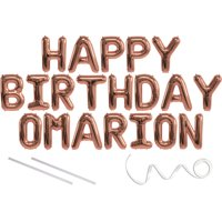 Omarion, Happy Birthday Mylar Balloon Banner - Rose Gold - 16 inch Letters. Includes 2 Straws for Inflating, String for Hanging. Air Fill Only- Does Not Float w/Helium. Great Birthday Decoration
