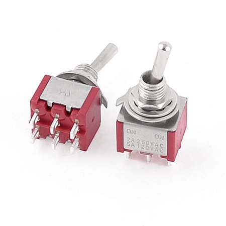 2 Pcs  250V 2A 120V 5A ON/ON 2 Position DPDT 6 Terminals Toggle Switch