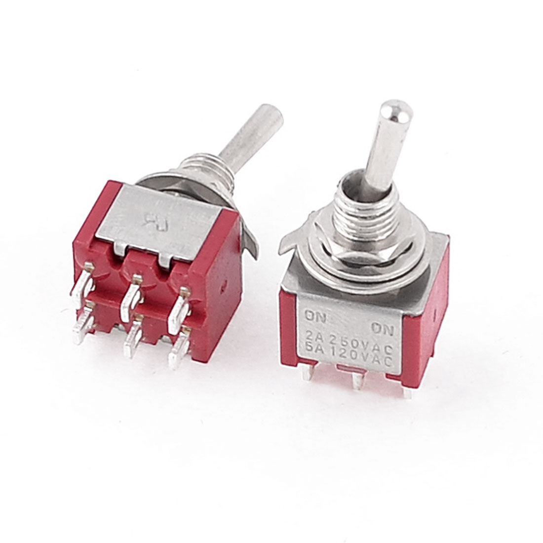 2 Pcs AC 250V 2A 120V 5A ON/ON 2 Position DPDT 6 Terminals Toggle Switch