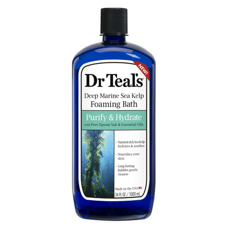 Essential Oils Bath Salt - Dr Teal's Deep Marine Sea Kelp Foaming Bath, Purify & Hydrate with Pure Epsom Salt & Essential Oils, 34 fl.oz.