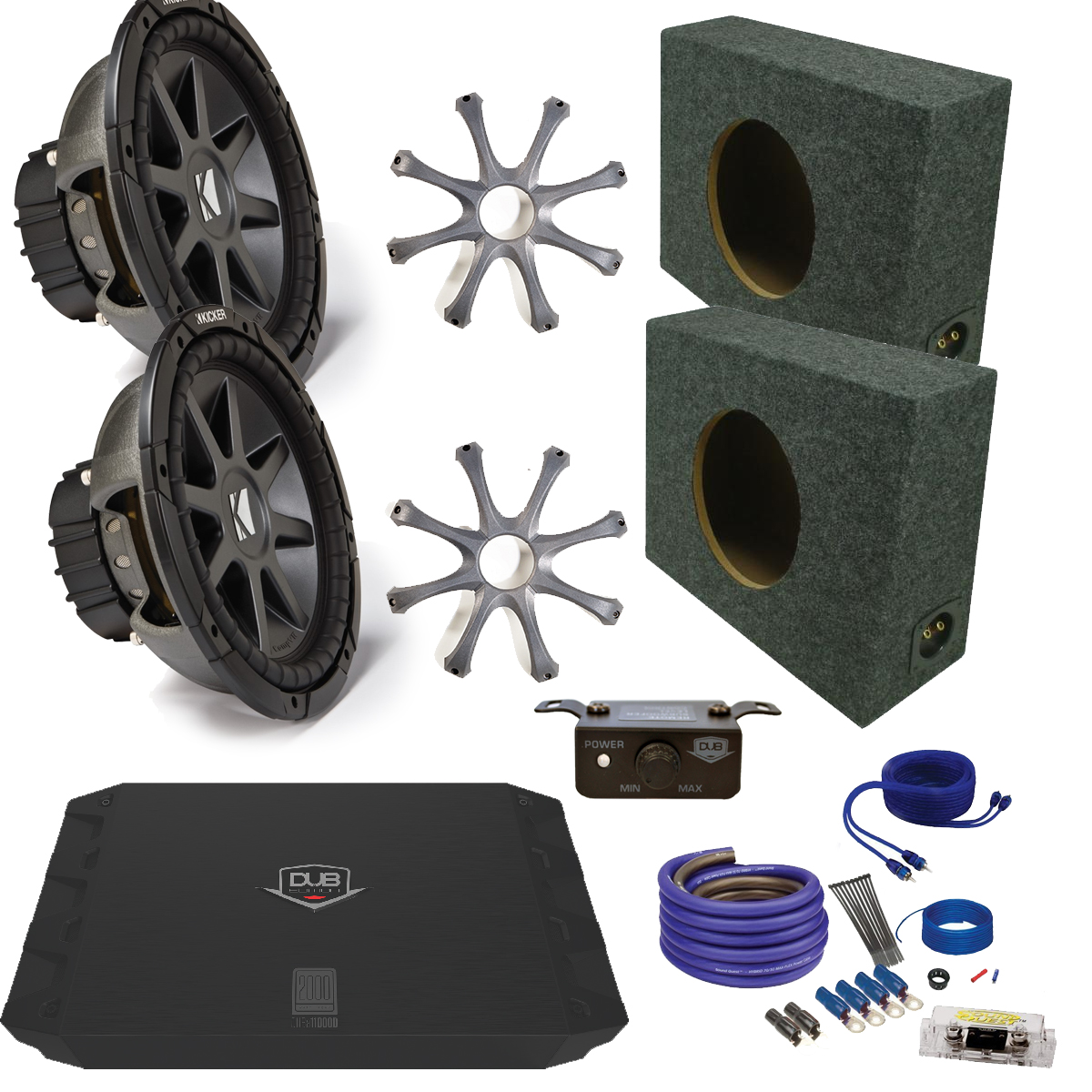 "Kicker CVR122 12"" Truck Bundle with MB Quart ZA2-1000.1D ..."