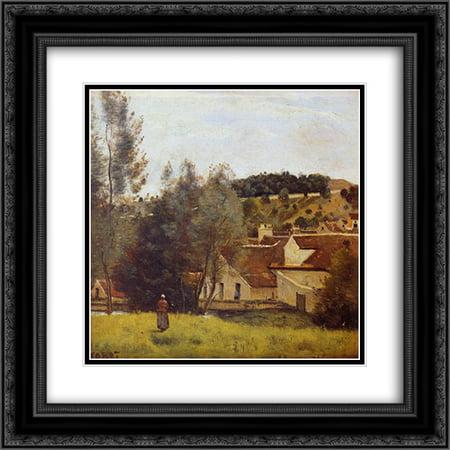 Camille Corot 2x Matted 20x20 Black Ornate Framed Art Print