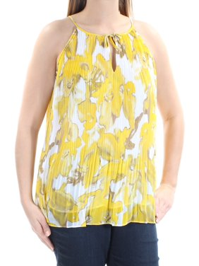 e80813c17781d Product Image INC Womens Yellow Pleated Tie Floral Sleeveless Halter Top  Size  L