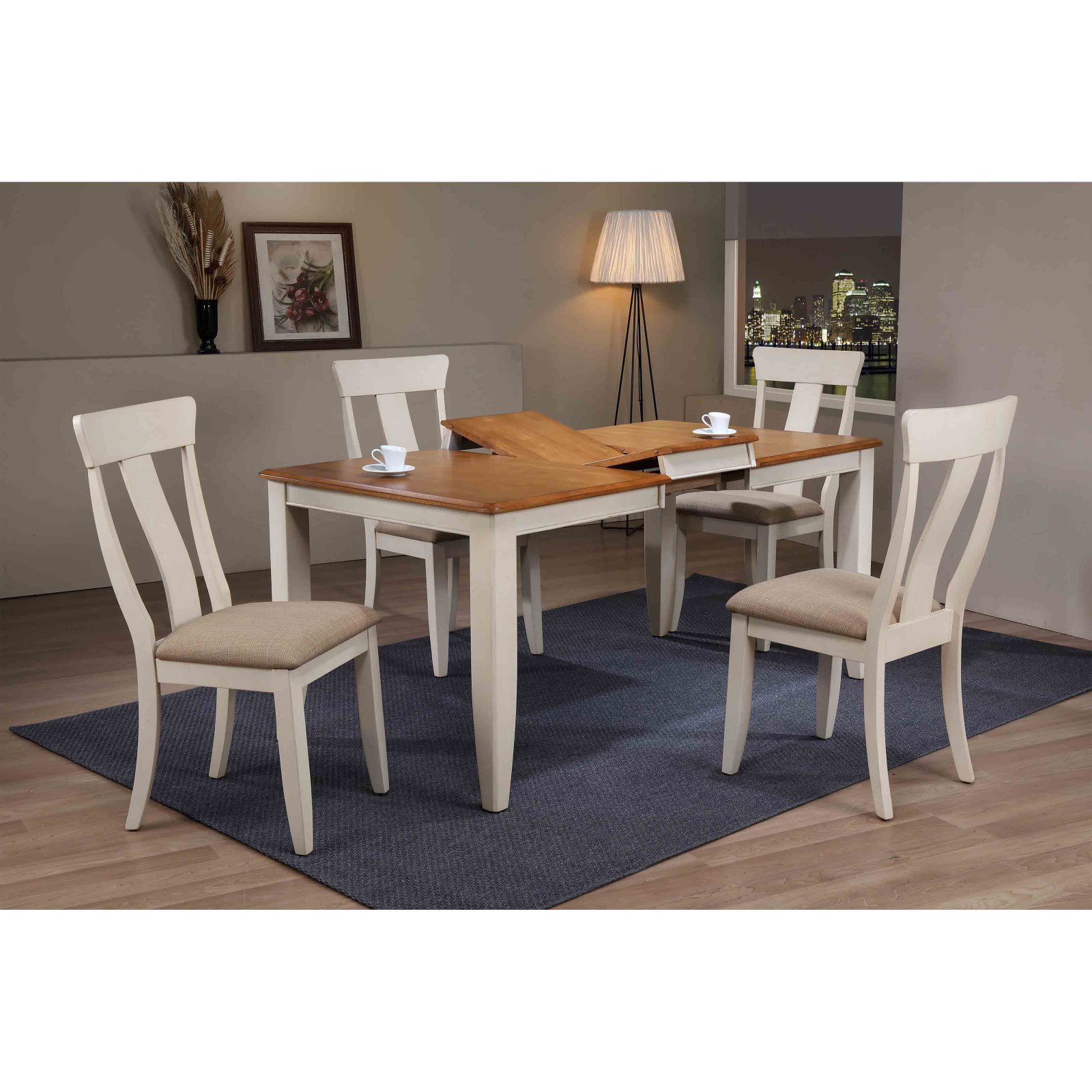 Iconic Furniture Rectangle Antiqued Upholstered Panel Back 5 Piece Dining Table Set