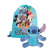 "Disney Lilo & Stitch 11"" Plush Toy w/ Disney Character 15"" Drawstring Sling Bag Set"