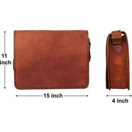 """Crafat 15"""" Mens Genuine Vintage Brown Leather Messenger Bag Shoulder Satchel School Laptop Bag Briefcase Bag - image 4 de 5"""
