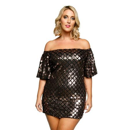3cb8389aa4454 Xehar Women's Sexy Off Shoulder Metallic Sequin Bodycon Short Party Dress