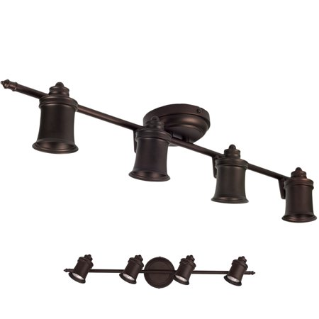4 Light Track Lighting Wall and Ceiling Mount Fixture Kitchen and Dining Room, Oil Rubbed Bronze ()