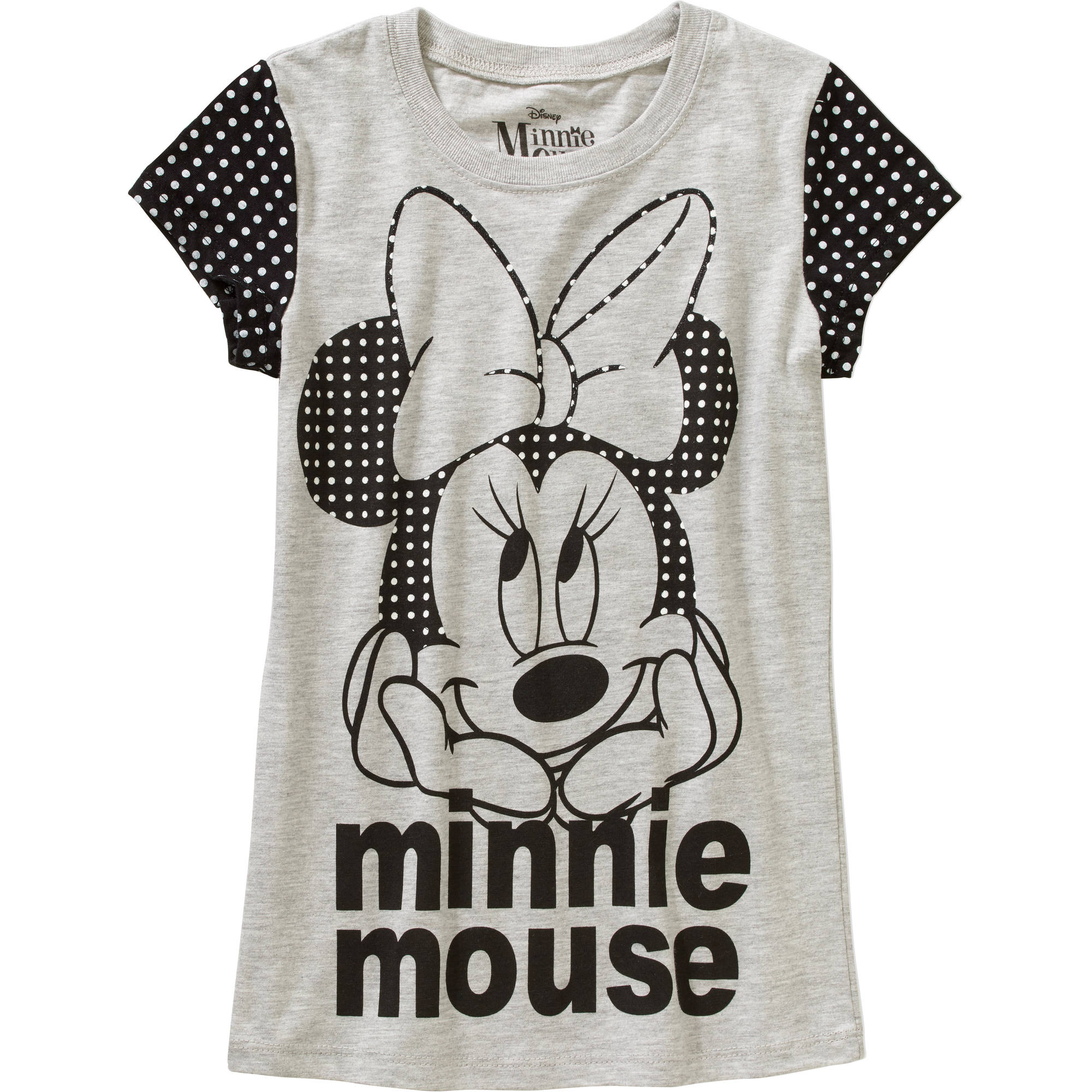 Girls' Polka Dots Minnie Mouse Short Sleeve Crew Neck Graphic Tee