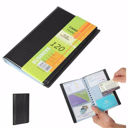 Leather 120 Cards Business Name ID Credit Card Holder Book Case Keeper Organizer Glazed Leather Business Card
