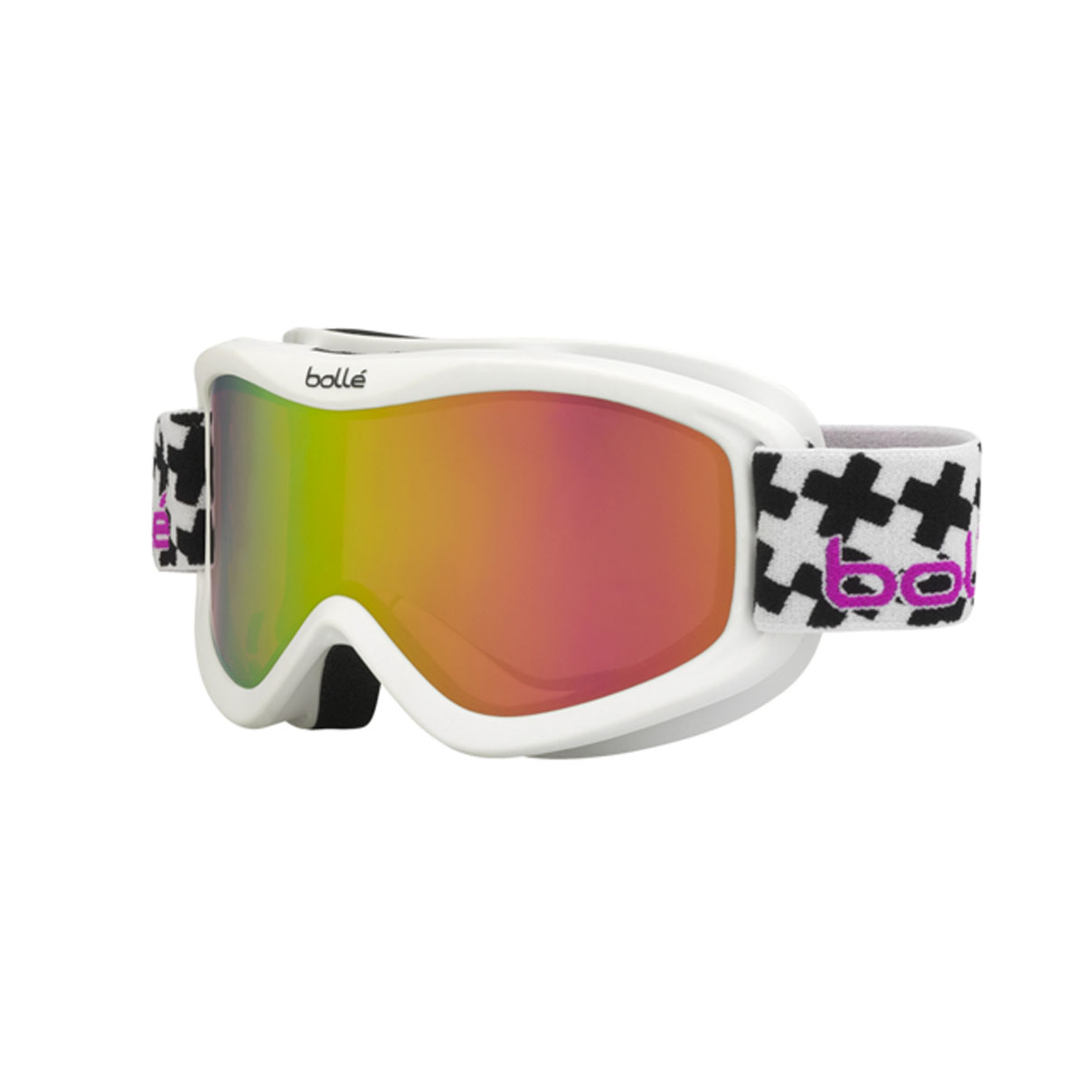 Bolle Volt Plus Snow Goggles Matte White Cross Frame Rose Gold Lens 21361 by Bolle