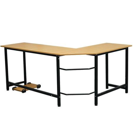 Zimtown L-Shape Corner Computer Table Desk Wooden Laptop Table Workstation Home Office