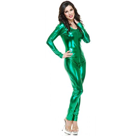 Liquid Metal U Neck Unitard Adult Costume Emerald - X-Large (Emerald Costume)