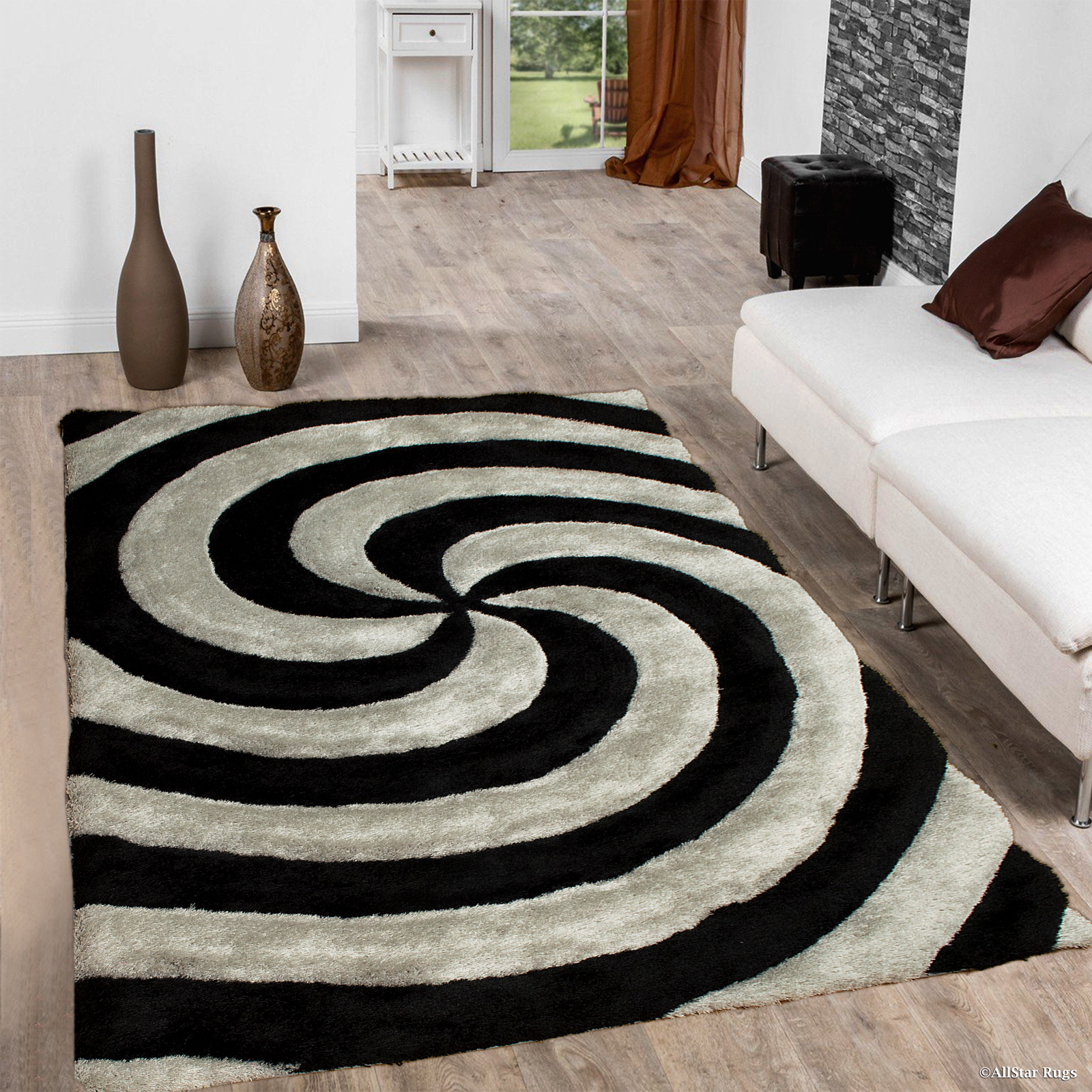 Allstar Grey Shaggy Area Rug with 3D Spiral Design. Contemporary Formal Casual Hand Tufted (5' x 7')
