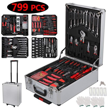 UBesGoo 799 PCS Hand Tool Set Mechanics Kit Wrench Socket Toolbox Castors Trolley Keys
