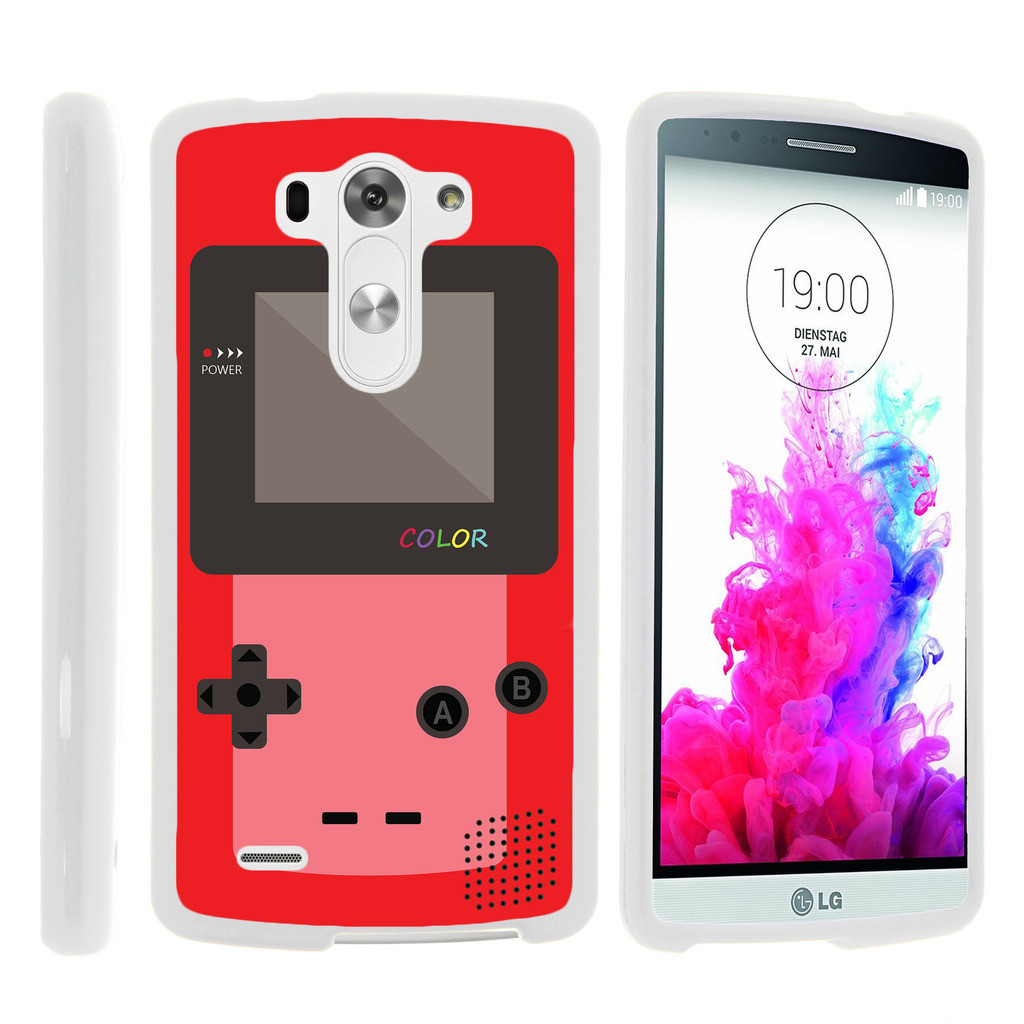 LG G3 D850, LS990, VS985, [SNAP SHELL][White] Hard White Plastic Case with Non Slip Matte Coating with Custom Designs - Red Gameboy Color