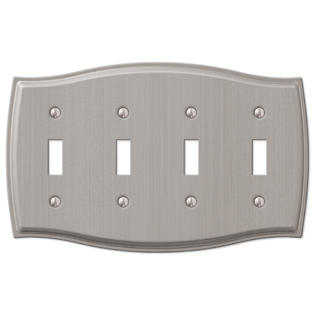 4 quad toggle switch wall plate cover brushed nickel. Black Bedroom Furniture Sets. Home Design Ideas