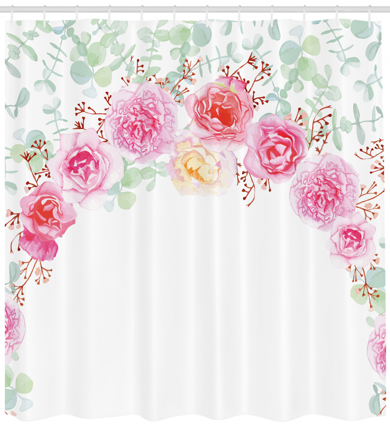 Shabby Chic Shower Curtain Floral Wreath In Half Blossoming Romantic Bridal Roses Peonies Feminine Design Fabric Bathroom Set With Hooks 69w X 75l