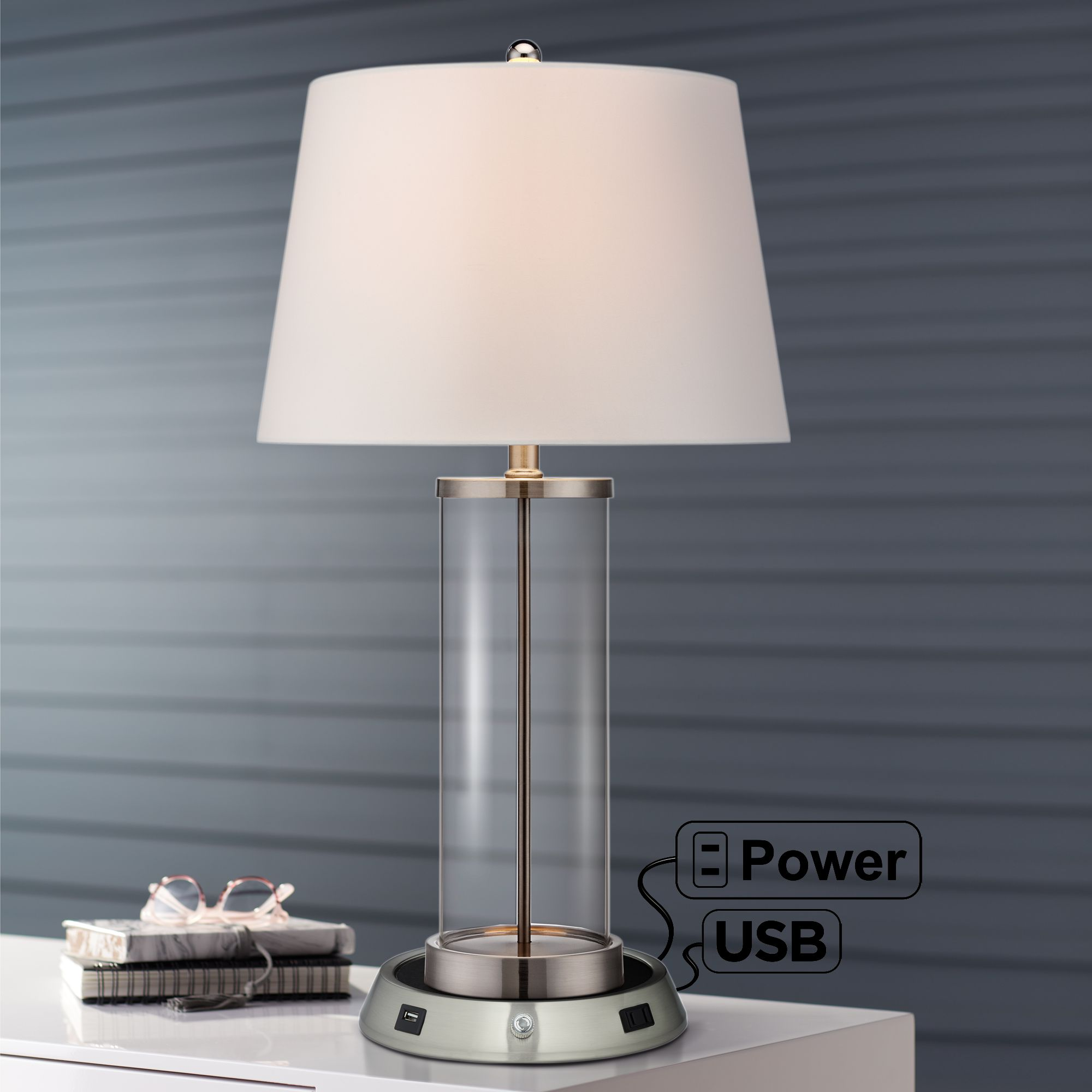 360 Lighting Modern Table Lamp With Dimmable Usb And Ac Power Outlet Workstation Base Fillable Clear Glass Nickel For Living Room Walmart Com Walmart Com