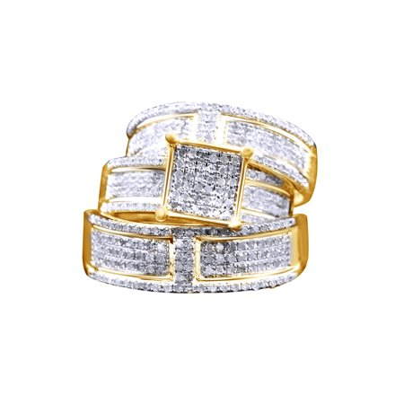 Gold Wedding Band Set - White Natural Diamond Engagement & Wedding Trio Band Ring Set In 10k Yellow Gold (1.1 Cttw)