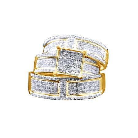 White Natural Diamond Engagement & Wedding Trio Band Ring Set In 10k Yellow Gold (1.1 Cttw)