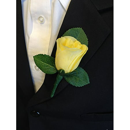 Classic Rose boutonniere with very nice vein pattern printed leaf. Pin included (Yellow) - Boys Boutonniere