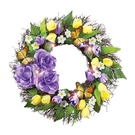 Purple and Yellow Light Up Flower and Butterfly Wreath - Spring Décor for Home or Outdoor
