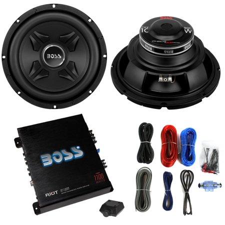 2 boss cxx10 10 1600w car audio power subwoofer sub mono amplifier amp kit. Black Bedroom Furniture Sets. Home Design Ideas
