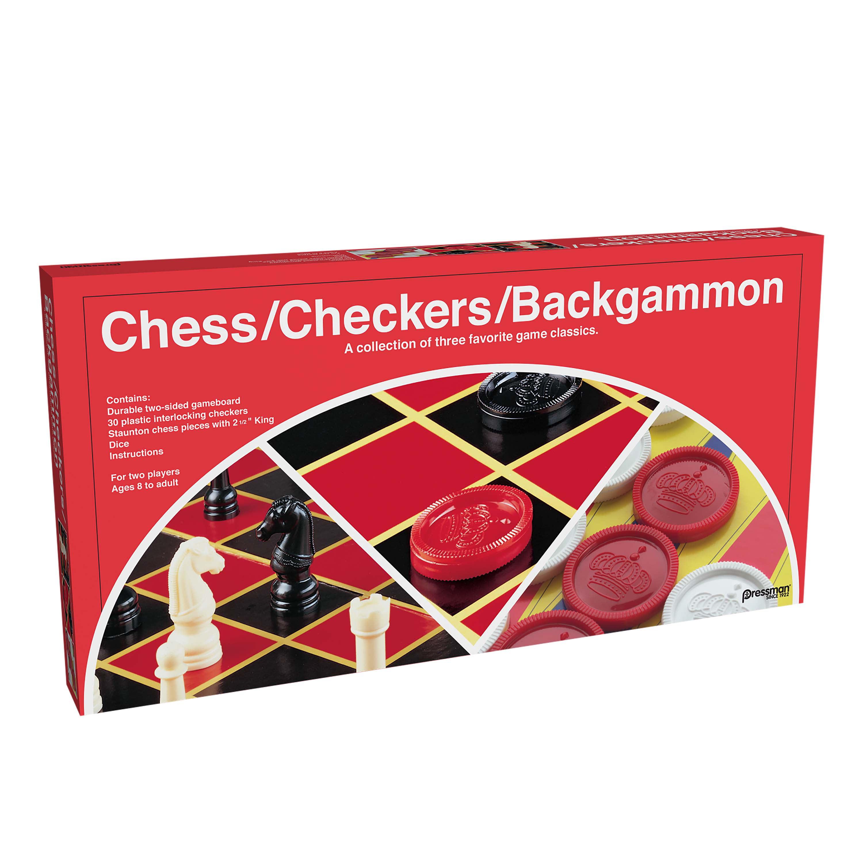 Pressman Checker Chess Backgammon with Folding Board by Pressman