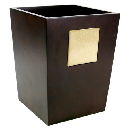 - Allure Wood Icy Crackle Small Square Wastebasket