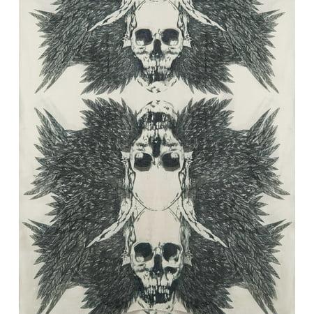 Artistic Feathered Skull Voile Scarf  Biker Black & Bone Skull Scarf by Ganz