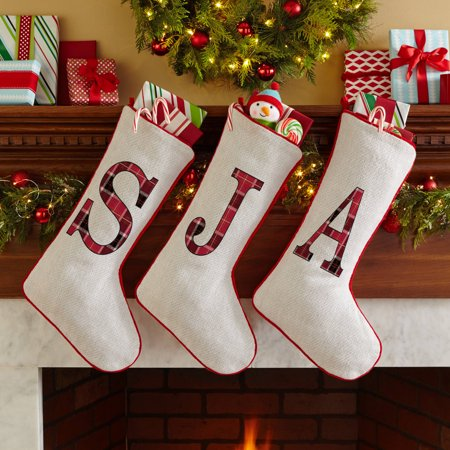 Personalized Plaid Christmas Stocking - Personalized Velvet Christmas Stockings