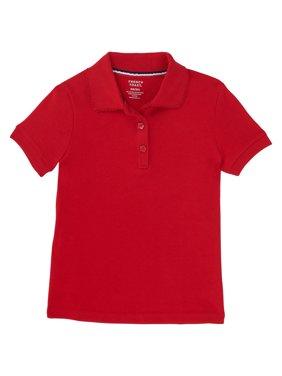 French Toast Girls School Uniform Short Sleeve Picot Collar Interlock Polo Shirt, Sizes 4-20 & Plus