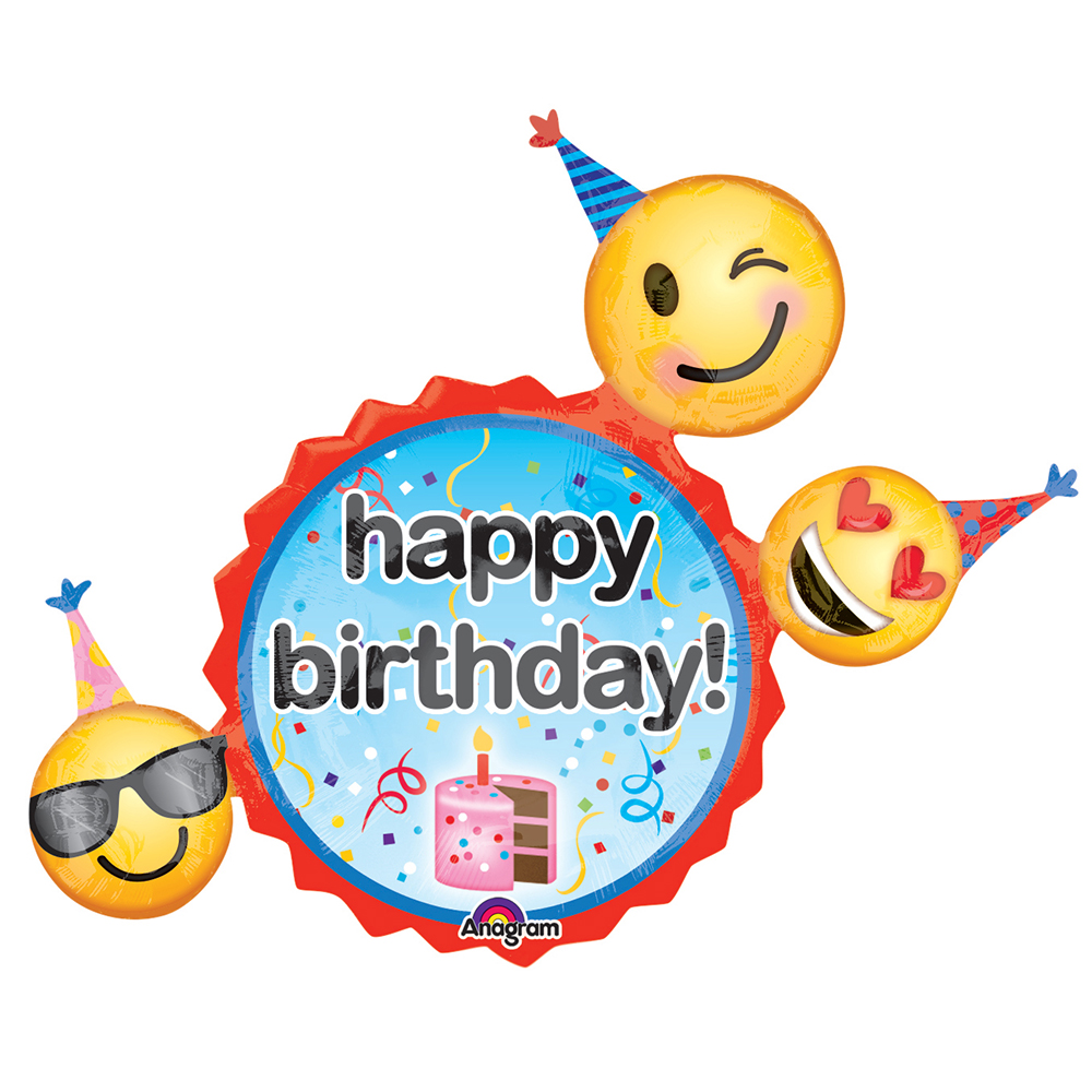 "Emoji Birthday Wishes 36"" Balloon"