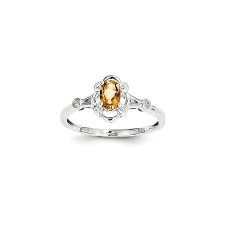 925 Sterling Silver Oval Cut Solitaire Citrine and Diamond Ring