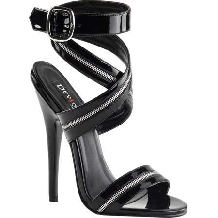 womens zipper sandals black ankle wrap shoes 6 inch heels sexy dress