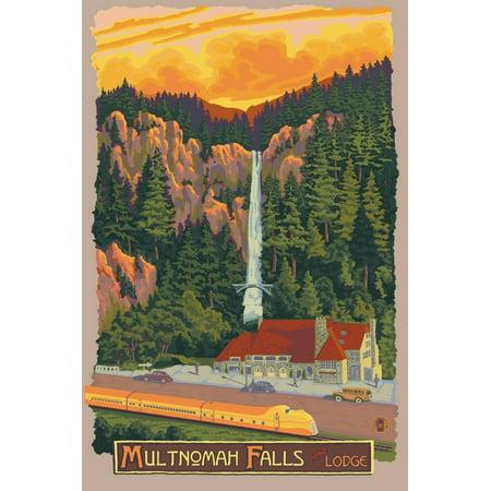 Multnomah Falls Lodge, Oregon Rustic Vintage Travel Advertisement with Waterfall Print Wall Art By Lantern Press