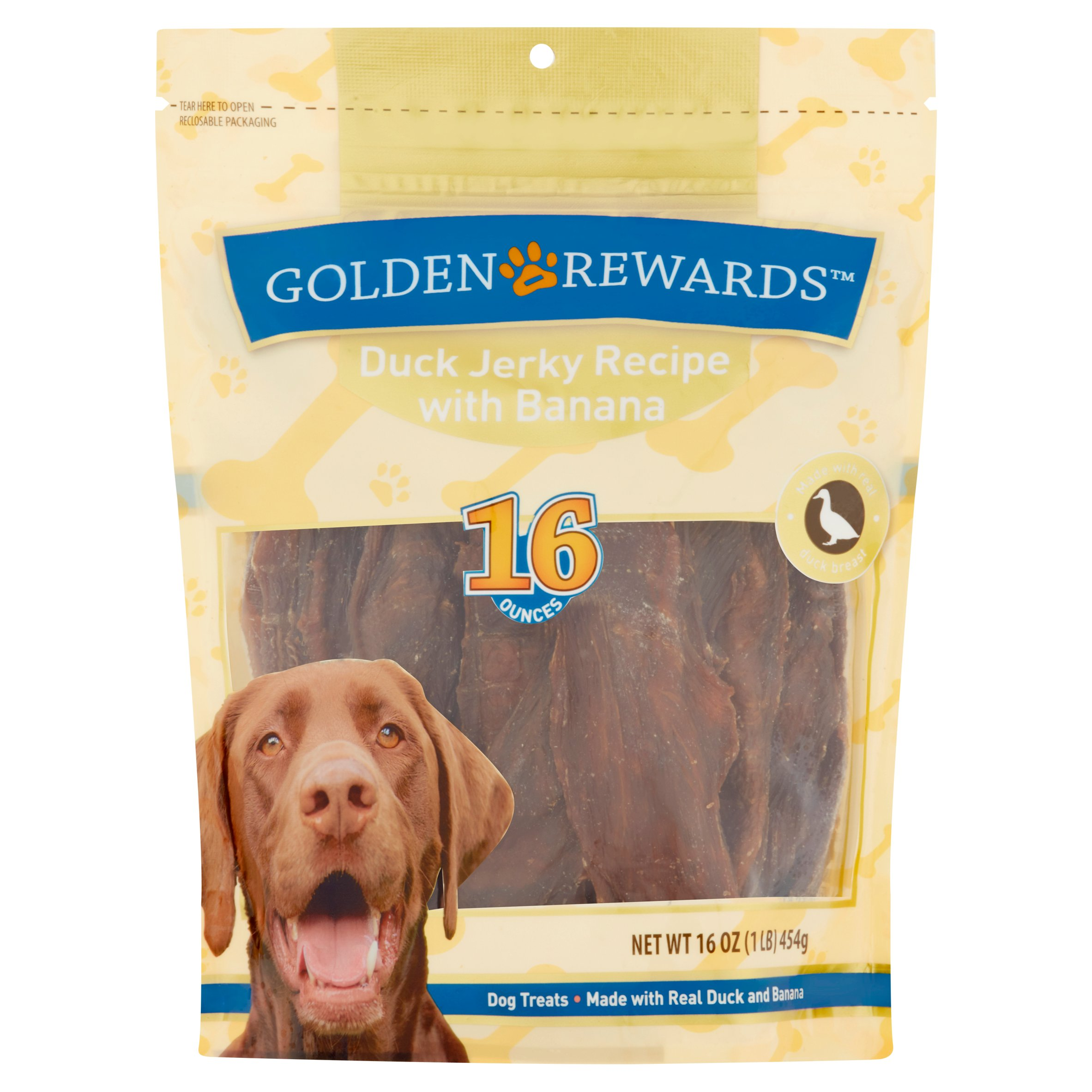 Golden Rewards Duck Jerky Recipe with Banana Dog Treats, 16 Oz