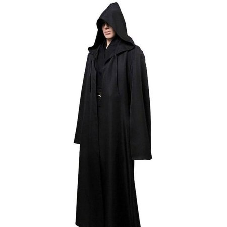 Halloween Costume Ideas Black Robe (Cosplay Costumes Adult Men Hooded Robe Cloak Cape Costume Halloween Christmas Dress Black)
