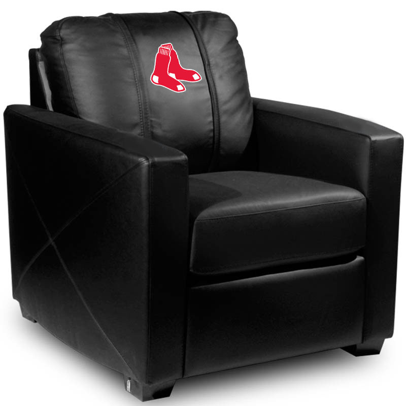 Boston Red Sox MLB Silver Chair with Primary Logo Panel