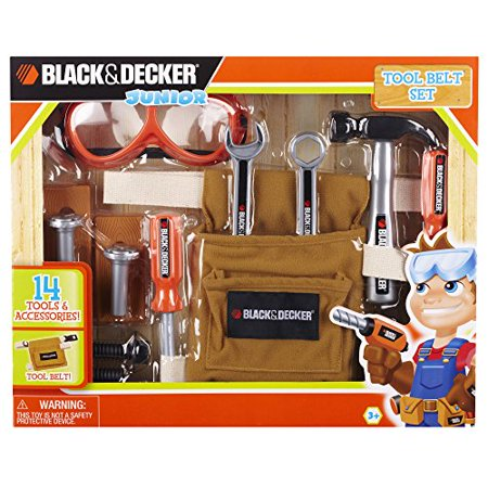 black & decker junior 14 piece toy tool belt set - walmart.com